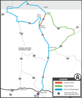 US89 Closure Map
